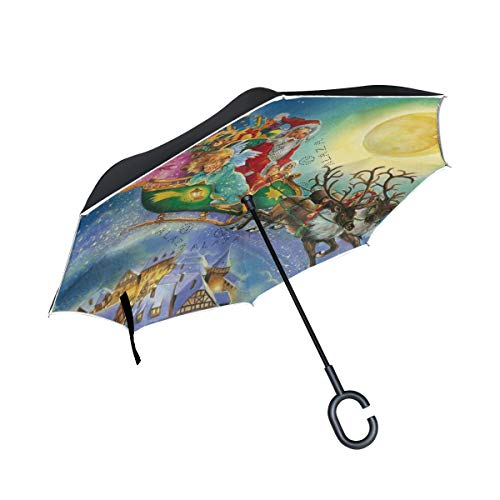 DOPKEEP Christmas Santa Cherub Reindeer Double Layer Inverted Umbrella Cars Reverse Umbrella,UV Protection Windproof Large Straight Umbrella for Car Rain Outdoor with C-Shaped Handle