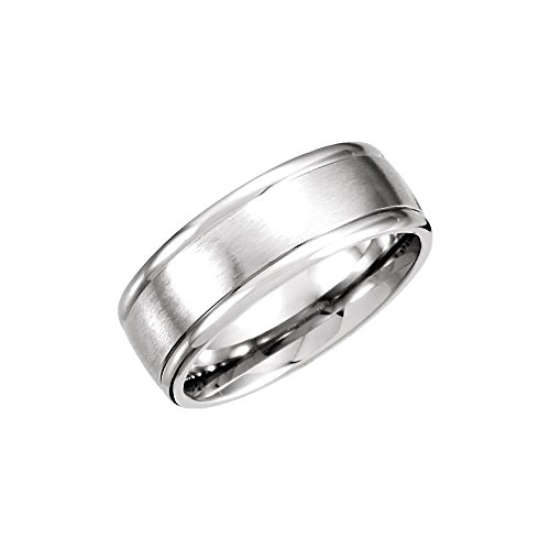 Carved Wedding Band White Gold - Jewels By Lux 14K White Gold 8mm Fancy Carved Wedding Ring Band with Satin Finish Size 10