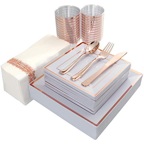 IOOOOO 175PCS Plastic Square Plates, Napkins, Rose Gold Disposable Silverware & Cups, 25 Guest Set: 25 Dinner Plates, 25 Salad Plates, 25 Forks, 25 Knives, 25 Spoons, 25 Tumblers 10oz, 25 Guest Towels (And Set Gold White Dish)