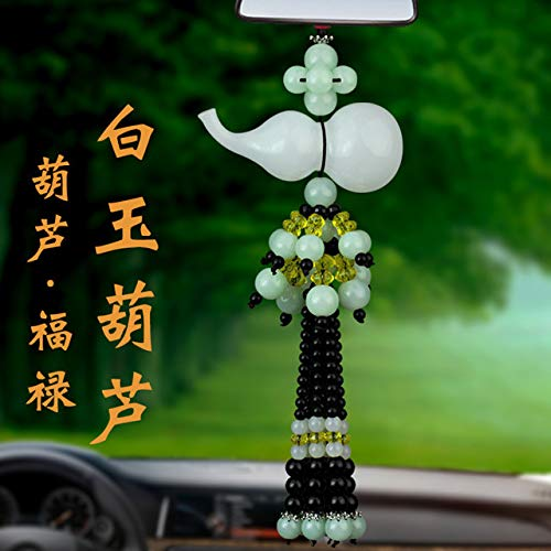 Perfume Necklace Pendant car Hanging Ornaments Rearview Mirror for Security Peace Symbol Crystal Jade Gourd (White Jade Pendant Gourd