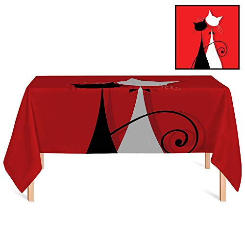 (SATVSHOP Summer Outdoor Tablecloth /60x104 Rectangular,Red and Black March Spring Season Lover Cats in Wedding Gowns with Swirl Tails Image Scarlet and White.for Wedding/Banquet/Restaurant.)