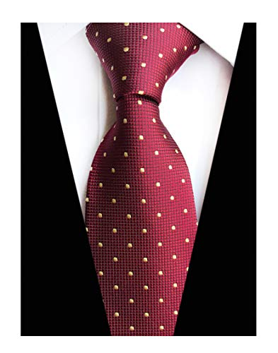 Men's Maroon Red Ties Unique Novelty Pattern Gorgeous Neckties Gift for Husband