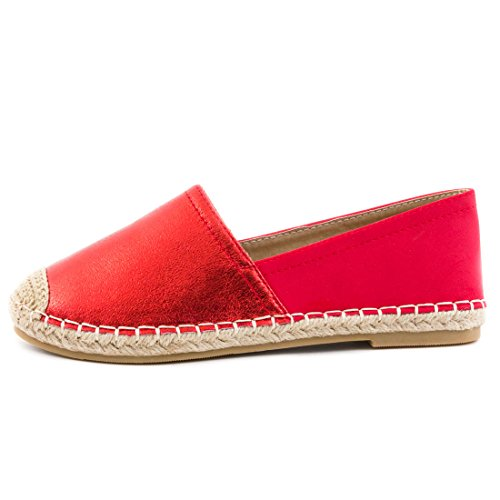 Marimo Damen Espadrilles Low Top Sommer Slipper Sneaker Metallic Lederoptik Rot Metallic