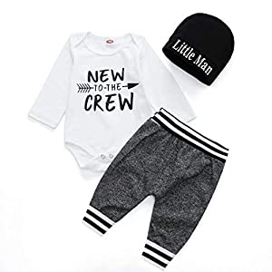 Best Epic Trends 41OJBpbbPnL._SS300_ Baby Boy Clothes Infant Outfits New to The Crew Letter Print Bodysuit Long Sleeve Romper+ Pants+Hat 3PCS