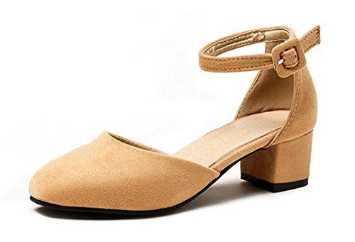 Aisun Damen Klassisch Knöchelriemchen Geschlossen Blockabsatz Sandale mit Schnalle Khaki
