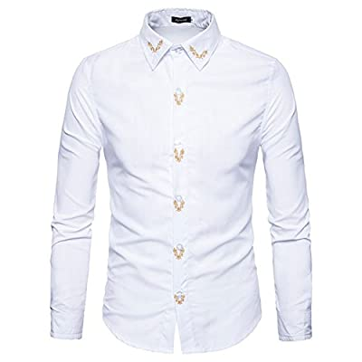 Sexymee Men Business Casual Long Sleeves Slim Fit Dress Shirts