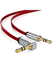 UGREEN 3.5mm Auxiliary Audio Jack to Jack Cable 90 Degree Right Angle Compatible for iPhone, iPod, 2018 Mac Mini, iPad, Smartphones, Tablets, Speakers, 24K Gold Plated Male to Male (3FT)