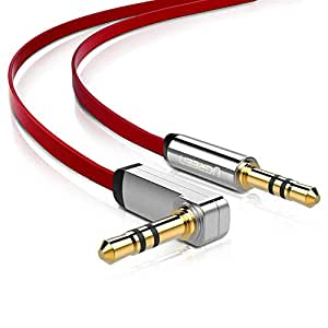 UGREEN 3.5mm Auxiliary Audio Jack to Jack Cable 90 Degree Right Angle Compatible for iPhone, iPod, iPad, Samsung, Smartphones, Tablets Speakers,24K Gold Plated Male to Male (1.5FT, Red)