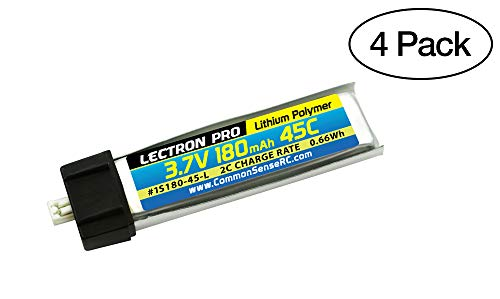 ((4 Pack) Lectron Pro 3.7V 180mAh 45C Lipo Battery with Micro Connector for Blade mCX, mCX2, mSR, mSR X, Nano QX, UMX AS3Xtr)