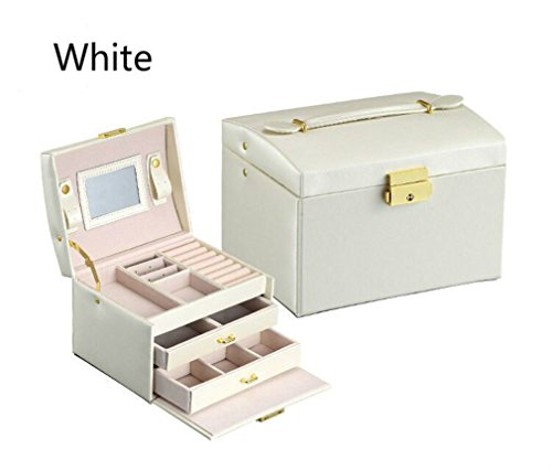(FLANNES PU Leather Jewelry Boxes Three Double Drawer Jewelry Display white)