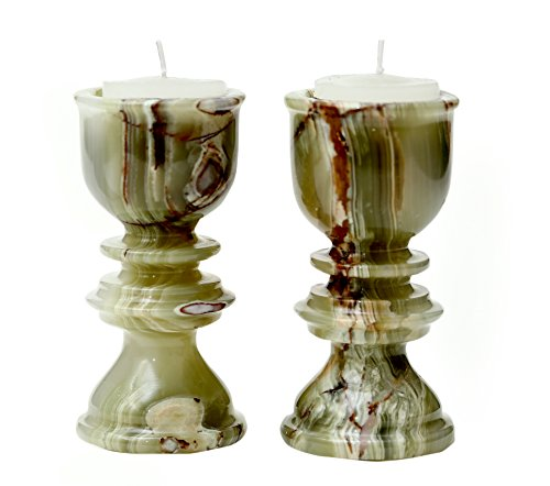 RADICALn Tealights Candle Holders for Home and table Decor votive Green Marble Handmade Stick Pillar Candle Holder - Non Glass Non Brass Soy Tyler wall Yankee White tealight hurricane (set of 2)