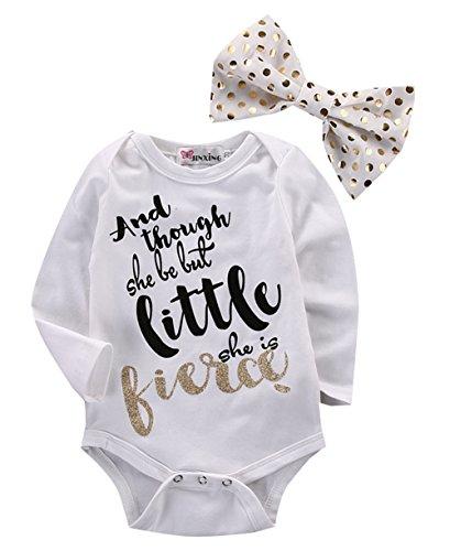 April Li Newborn Baby Girls Bowtie Long Sleeve Romper Bodysuit Playsuit Headband Outfits (6-12M, (April Brooch)