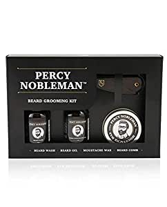 Percy Nobleman Beard Grooming Kit Bundle with Beard Oil, Wash, Wax and Comb Set for Men