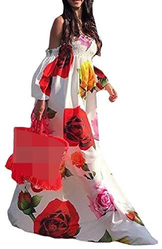 pipigo Women's Puff Sleeve Flower Off Shoulder Print Long Dress White L