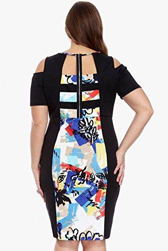 Neue Damen Plus Größe gedruckt bodycon Midi Dress Club Büro tragen Abend Party Besondere Anlässe Größe XXL UK 16EU 44