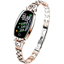 2018 Metal Smart Bracelet for Women Girls - Blood Pressure/Heart Rate Monitor Smart Bracelet Watch Pedometer Sport Fitness Tracker with Metal Chain Band (Rose Gold)