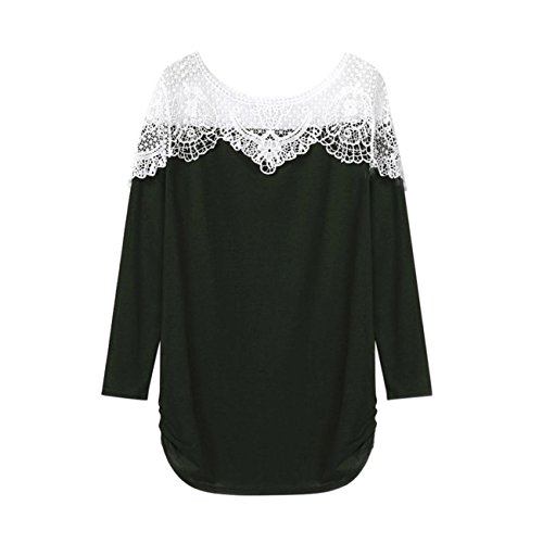 Women Plus Size Loose Casual Short Sleeve Sexy Lace Shirt Tops Blouse Tops (M, Army (Gel Coat Labs Bow)