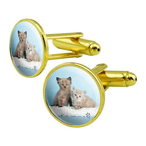 - GRAPHICS & MORE Ragdoll and Tiffany Kitten Cat Friends Round Cufflink Set Gold Color