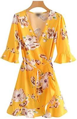Women Cross V Neck Floral Sweetheart Short Sleeve Bow Tie Dress Ruffles Short Sleeve Women Casual Mi
