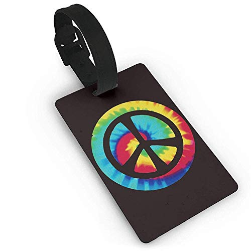 Puyrtdfs Tie Dye Peace Sign,Plastic,Luggage Tag,PVC Travel,Suitcase Labels ID Tag Travel Luggage Tag ID Identification Labels Size 2.2
