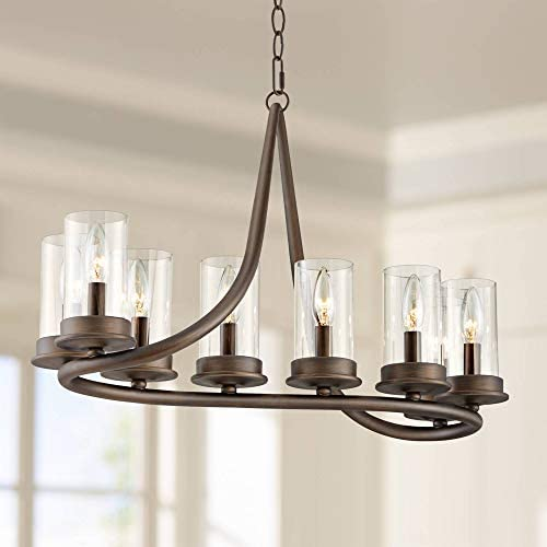 Ulric Heritage Bronze Island Pendant Chandelier 29 3 4 Wide Rustic Farmhouse Cylinder Clear Glass 8-Light Fixture for Kitchen Island Dining Room – Franklin Iron Works