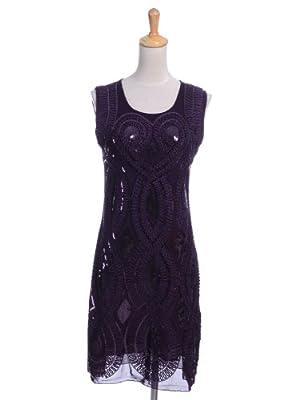 Anna-Kaci Womens Floral Sequin Art Deco Sleeveless 1920s Flapper Inspired Dress