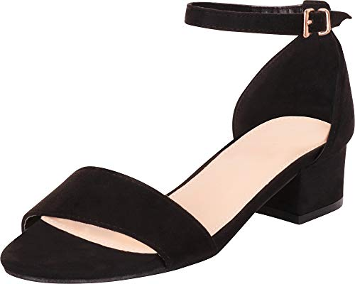 Cambridge Select Women's Classic Single Band Ankle Strap Chunky Block Low Heel Sandal,8 M US,Black