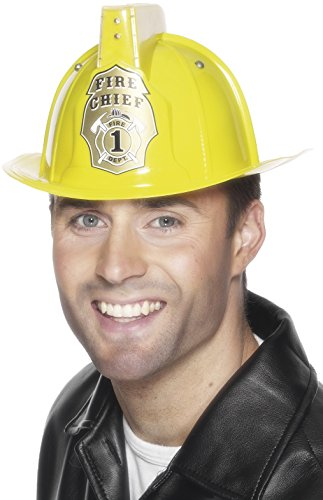 Smiffy'S Firemans Helmet With Flashing Light And Siren Sound - Yellow
