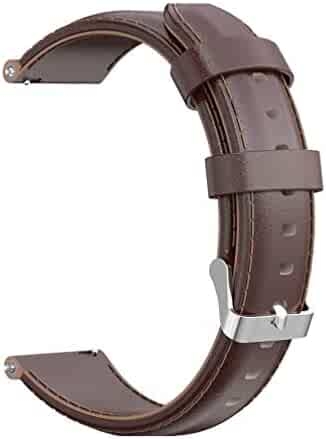 Hemobllo Leather Watch Band Replacement Smartwatch Watch Strap Compatible for Huami amazfit GTR Youth Edition BIP Brown 42mm