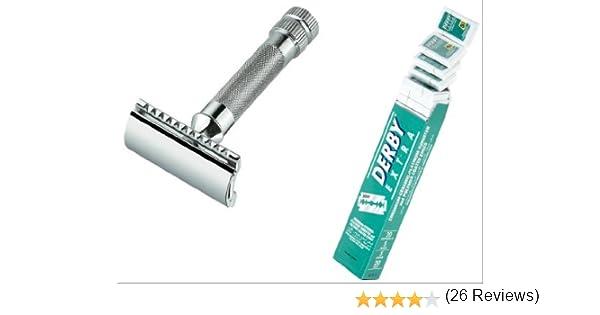 Merkur 34 C doble Edge Safety Razor And 100 Derby Extra Double Edge Razor Blades: Amazon.es: Salud y cuidado personal