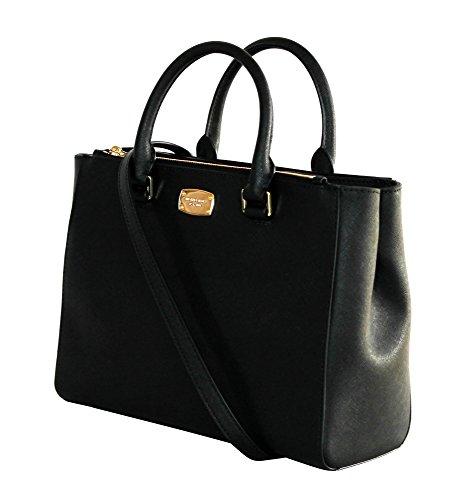 MICHAEL KORS WOMENS KELLEN MEDIUM SATCHEL LEATHER Shoulder Handbags (BLACK) by Michael Kors