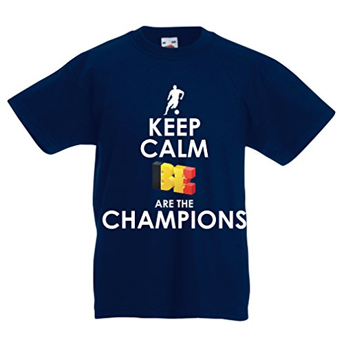 fan products of lepni.me N4463K Kids T-Shirt Keep Calm, Belgians Are The Champions (5-6 Years Dark Blue Multicolor)