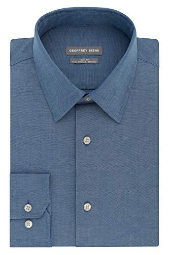 Geoffrey Beene Men's Slim Fit Flex Collar Stretch Solid, Blue Jay, 16