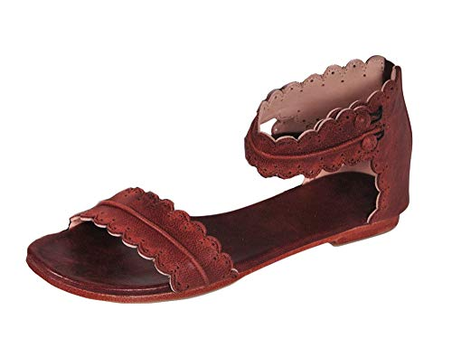 (Womens Open Toe Scalloped Flat Sandals One Band Ankle Strap Boho Dress Beach Shoes Dark Brown)