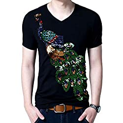 Men Summer Elegant Peacock Sequined Cotton T-Shirt