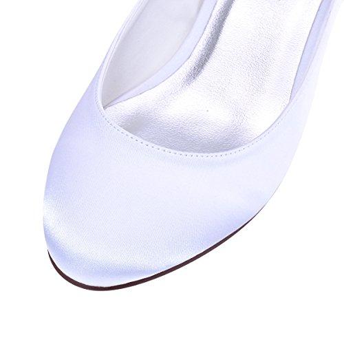 Elegantpark Donna Punta Cinturino Tacco Pompe Caviglia Sera Chiusa Bianco Sposa Scarpe Grosso Da Alla Satin Hrrqwad