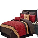 red and chocolate bedding - Royal Hotel Atlantis Red, Gold and Chocolate Olympic Queen size Luxury 8 piece comforter set includes Comforter, bed skirt, pillow shams, decorative pillows