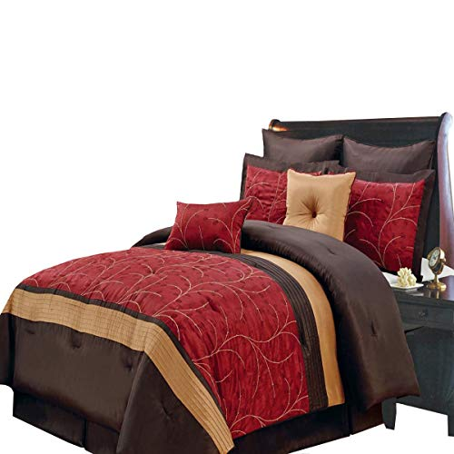 Atlantis Red, Gold and Chocolate Queen size Luxury 8 piece comforter set includes Comforter, bed skirt, pillow shams, decorative pillows