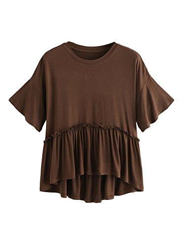Romwe Women's Loose Ruffle Hem Short Sleeve High Low Peplum Blouse Top Coffee X-Small