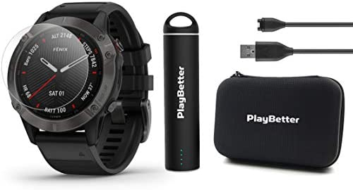 Garmin Fenix 6 Sapphire Gray DLC with Black Band Power Bundle with HD Screen Protectors, PlayBetter Portable Charger Protective Hard Case PulseOx, ClimbPro, Maps, PacePro, Spotify, Music
