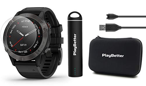 Garmin Fenix 6 Sapphire (Gray DLC with Black Band) Power Bundle with HD Screen Protectors, PlayBetter Portable Charger & Protective Hard Case | PulseOx, ClimbPro, Maps, PacePro, Spotify, Music