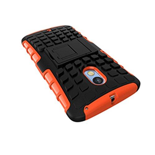 Motorola Moto X Play Funda,COOLKE Duro resistente Choque Heavy Duty Case Hybrid Outdoor Cover case Bumper protección Funda Para Motorola Moto X Play - verde naranja