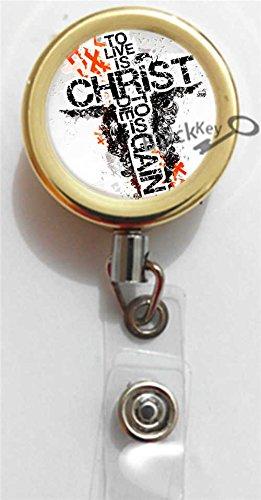 BlackKey Christian Cross Lords Prayer Cross Gold Retractable ID Card Badge Holder Reel with Lanyard & Belt Clip -854