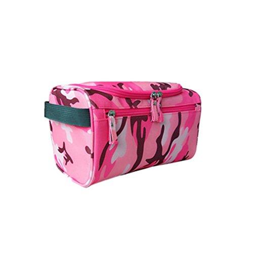 Travel Cosmetic Organizer Bag Waterproof Wash Bag Men Women Cosmetic Makeup Bag Hanging Toiletry Bag Camouflage rose red ()