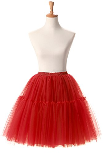 Manfei Women's Princess Petticoat Tutu Tulle Midi Knee Length Skirt Underskirt (One Size, Red) (Womens Red Tutu Skirt)