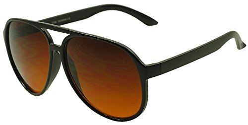 SunglassUP - Blue Blocking Oversized Bomber Aviator Sunglasses Amber Tinted Lens