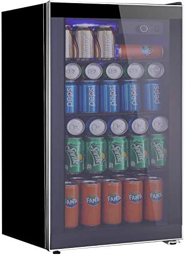Tavata Beverage Refrigerator and Cooler – 3.2 Cu. Ft. Drink Fridge with Glass Door for Soda, Beer or Wine – Small Beverage Center with 3 Removable Shelves for Office Basements Home Bar Smoky Gray