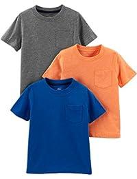 Toddler Boys' 3-Pack Solid Pocket Short-Sleeve Tee Shirts