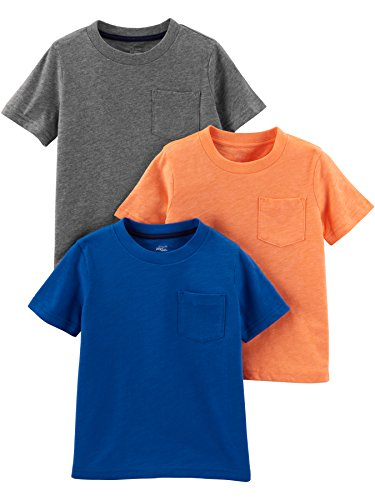 Simple Joys by Carter's Boys' Toddler 3-Pack Solid Pocket Short-Sleeve Tee Shirts, Gray/Orange/Navy, 3T
