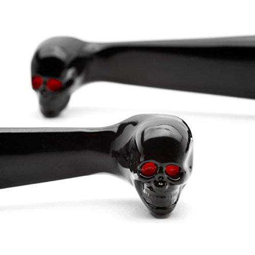 Krator Black Clutch Brake Skeleton Skull Hand Levers For 1996-2012 Harley Davidson FXDB Street Bob